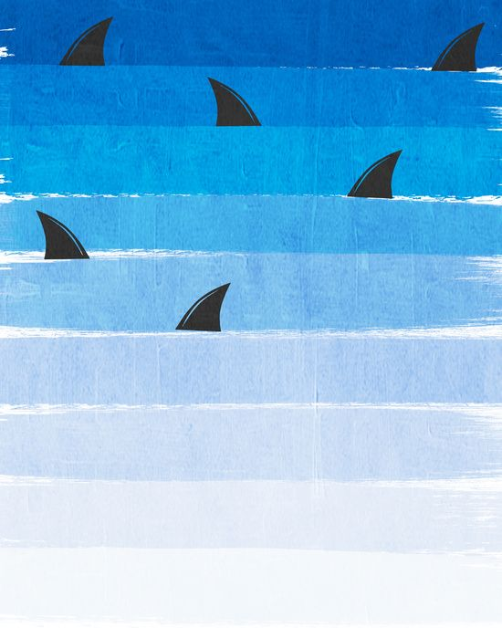 Sharks - shark week trendy black and white minimal kids pattern print ombre blue ocean surfing  Art Print
