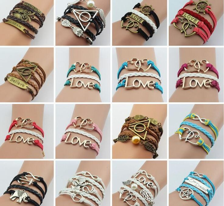 2016 Fashion 2017 Hot Cool Leather Double Infinite Bracelets Multilayer Braided Vintage Owl Harry Potter Wings Gift For Women