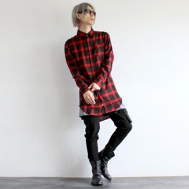【AS SUPER SONIC】ZIPスリットチェック柄ロングシャツ - メンズスカートなどモード系ファッションの通販 albino