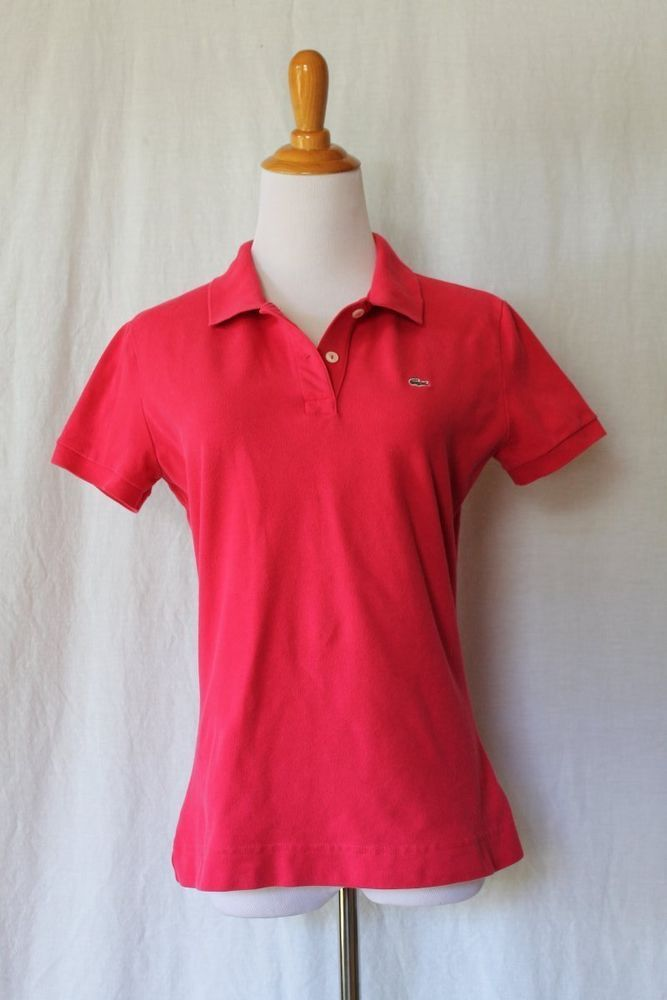 Lacoste Slim Fit Stretch Pique Polo in Dark Pink Country Club Pink Size 44 Large #Lacoste #PoloShirt #Casual