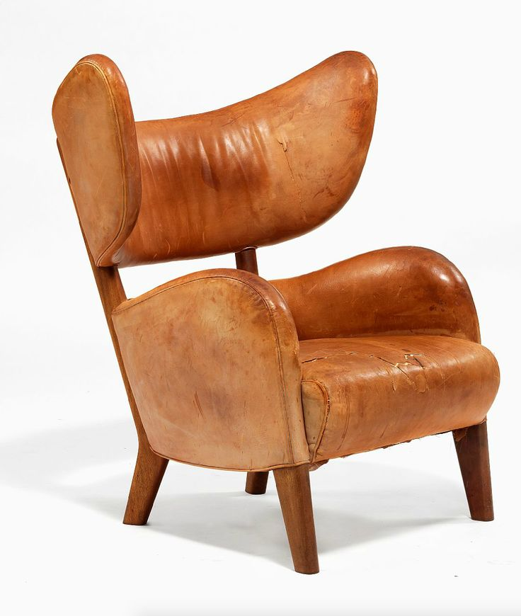 Flemming Lassen; Mahogany and Leather Lounge Chair for Jacob Kjær, 1938.