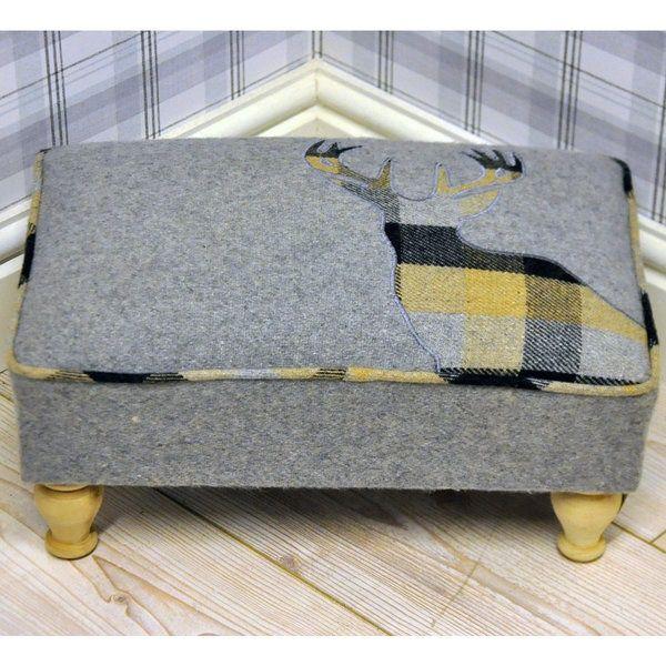 Grey & Yellow Deer Stags Head Check Tartan Footstool