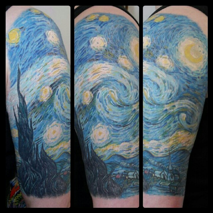 Van Gough Starry night tattoo Sleeve by Galen Bryce #vangough #starrynight #starrynighttattoo