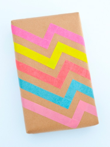 Colored masking tape designs on brown wrapping paper, graphic, bold and different, love it!