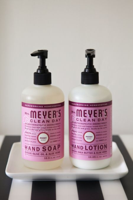 Mrs Meyers Peony Soap + Lotion - pretty display