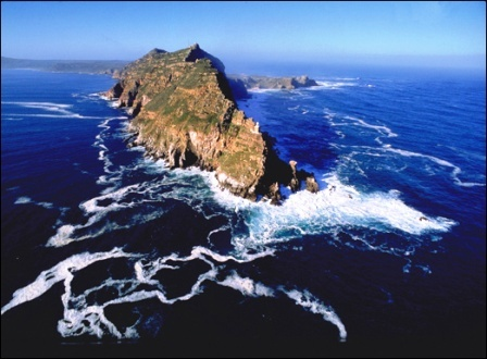 """Southernmost point of Africa. Cape Point, South Africa is said to be where the Indian and Atlantic Oceans meet.  Literally, """"where oceans collide."""""""