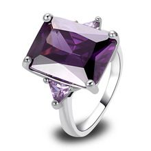 Wholesale Noble Amethyst Decent font b Silver b font Ring Size 7 8 9 10 New