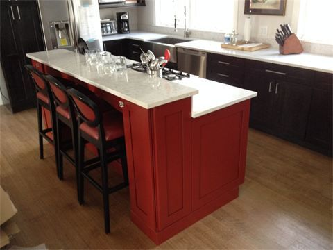 Kraftmaid Island Painted Cardinal Red With Quartz
