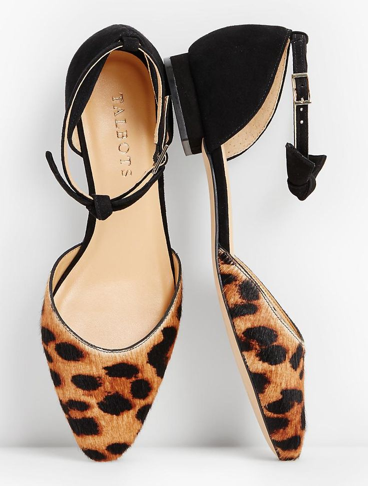 Ankle Strap Leopard Flats