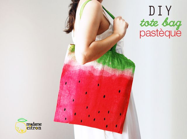 DIY watermelon dyed tote (french)