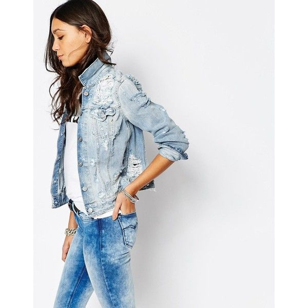 Replay Boyfriend Denim Jacket With Destroyed Detail (€395) ❤ liked on Polyvore featuring outerwear, jackets, blue, white jacket, blue jean jacket, distressed jean jacket, denim jacket and distressed denim jacket