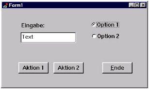 """Delphi -Die Abbildung zeigt ein typisches Dialogfenster, welches mit visuellen Komponenten in Sekundenschnelle und ganz ohne """"Insiderkenntnisse"""" erstellt werden kann. Der Anwender kommuniziert über dieses Fenster mit dem jeweiligen Programm. Im Eingabefeld kann ein beliebiger Text oder Zahlenwert eingegeben werden, der dann über das Anklicken eines Aktionsschalters vom Programm verarbeitet wird. Dabei stellt das Ereignis """"Schalter geklickt"""" eine Botschaft an das Programm dar, woraufhin…"""
