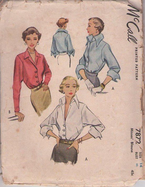 MOMSPatterns Vintage Sewing Patterns - McCall's 7872 Vintage 40's Sewing Pattern GLAMOROUS Rockabilly Vixen Deep V HUGE French Fold Up Pirate Cuffs or Slim Sleeve Cocktail Party Blouse Set 2 Styles Size 14
