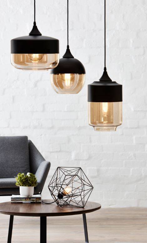 The Home Design Ambra pendant can be hung individually or as a group #bunnings #lighting