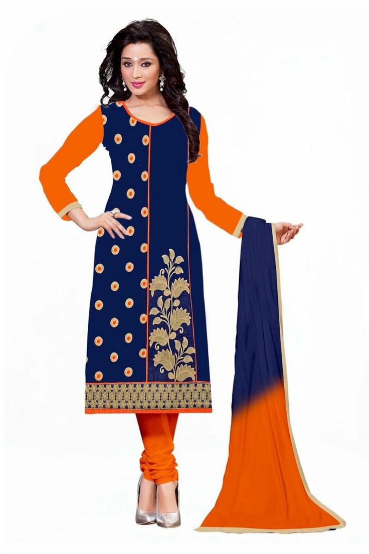 Cotton Machine Work Blue Semi Stitched Churidar Suit - Y2 at Rs 799