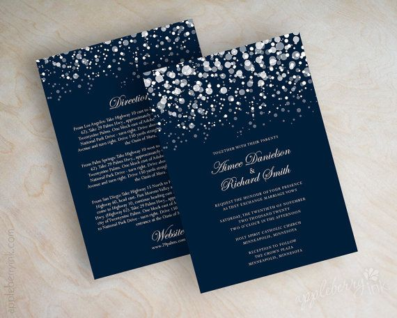 Polka dot wedding invitation, modern, snowfall, starry night, twinkling lights, glitter wedding invitation, navy blue, Glitter. www.appleberryink.com