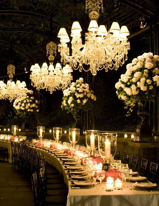 Ralph Lauren's 40th Anniversary Party. Elegant dining table, set beautifully with warm lighting.