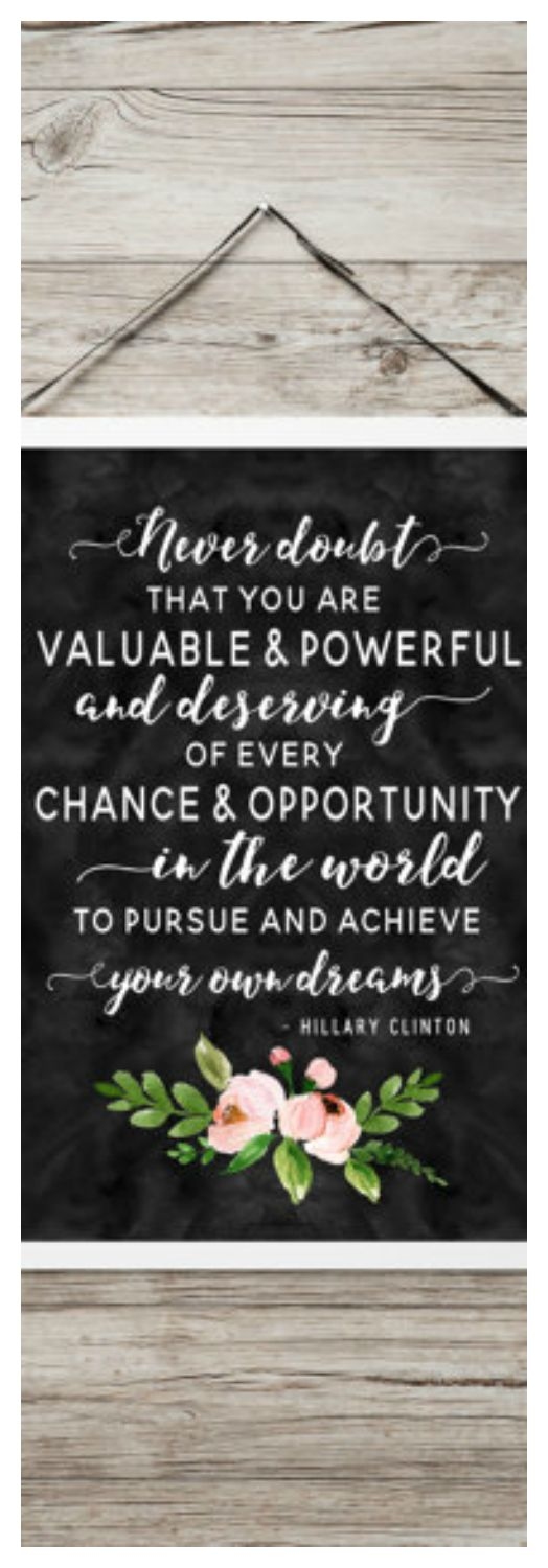 Hillary Clinton Quote - Printable Hillary Quote - Inspirational art gift - Hillary quote art - Motivational poster - Dark watercolor floral #ad