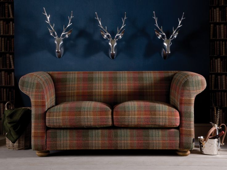The Grandad Highland Wool Sofa is inspired by the iconic Chesterfield design with a bold tartan fabric pattern #tartan #tartansofa #highlandwool