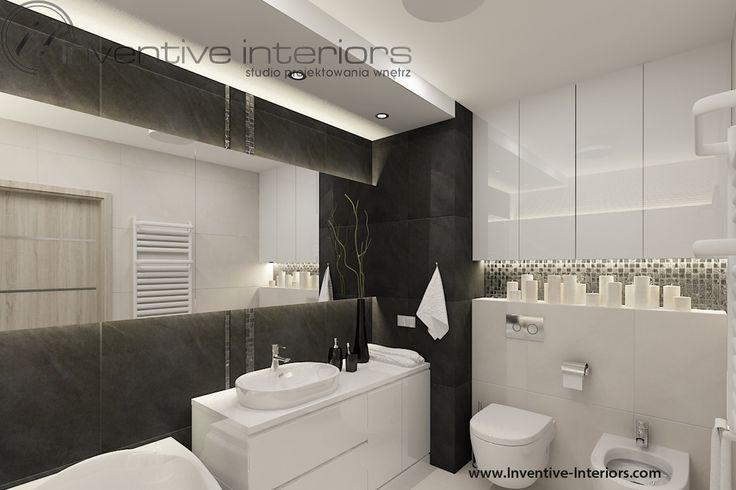 Projekt łazienki Inventive Interiors - pasy dekoracyjnej mozaiki w klimatycznej łazience