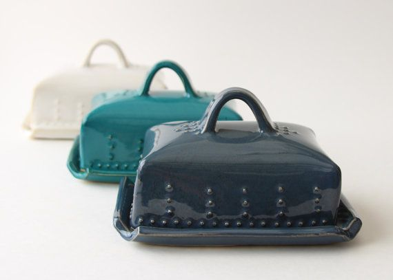 European Butter Dish with Lid and Handle 16 Custom Color