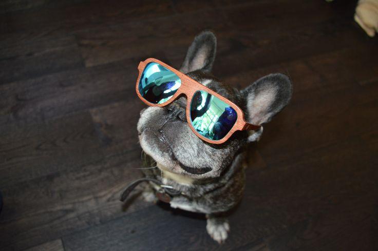 Walnut wood shades with blue mirror lenses