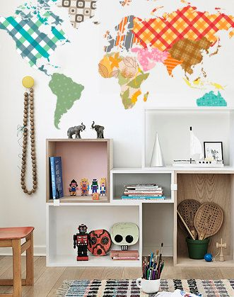75 best etsy ideas images on pinterest forests woodland forest world map wall decal geographic map decal by designstickersstore sciox Choice Image