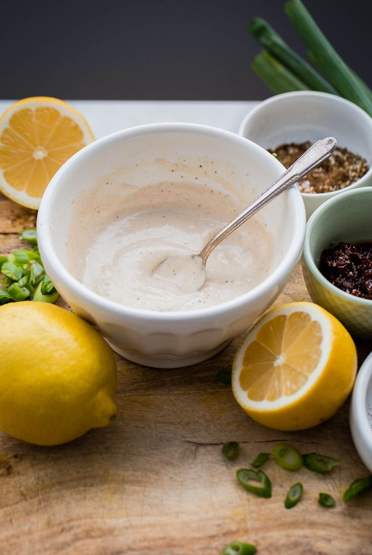 EASY Lemon Tahini Sauce made with just two ingredients! Use on grilled vegetables, chicken, meat, seafood, or thin it down and use a simple salad dressing.
