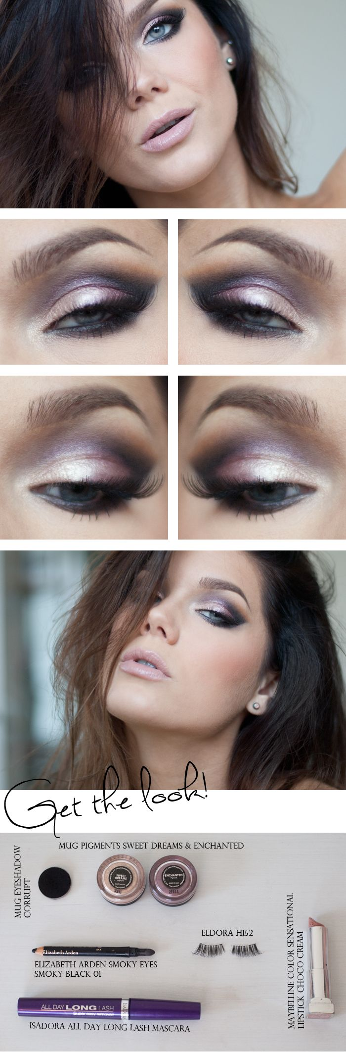 """Today's Look : """"Music is Life"""" -Linda Hallberg (a gorgeous plum-y eye! Using MUG pigments in Sweet Dreams and Enchanted with a nude lip. I can see this look being easily accomplished using the Lorac Pro Palette) 08/09/13"""