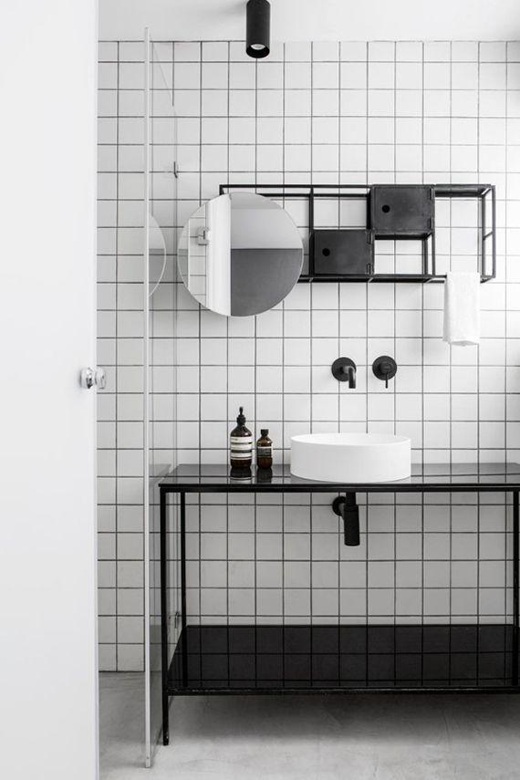 Contemporary black and white bathroom via Design Milk
