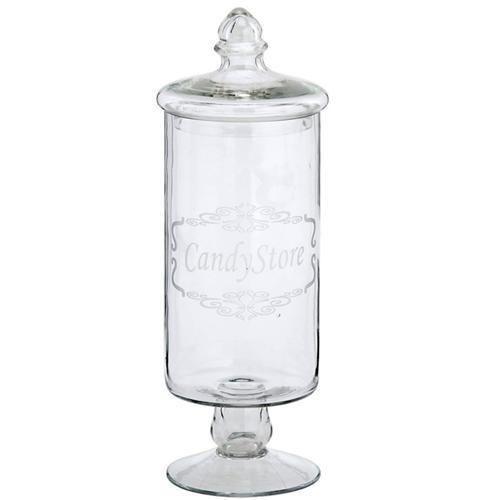 Glasdose CANDY STORE mit Deckel - Bonboniere auf Fuß - Vorratsdose - Glasschale