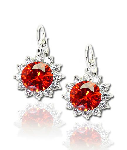Cercei mireasa floare cu  Swarovski Elements rosii COD M357