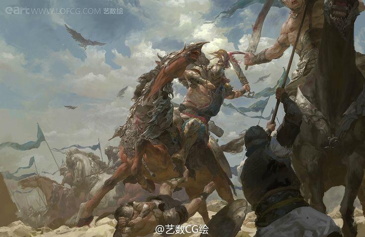 Massacre by zhongfen battle fighters soliders giants horse ...