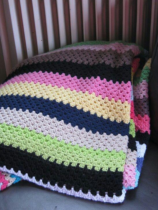 Granny stripes tæppe