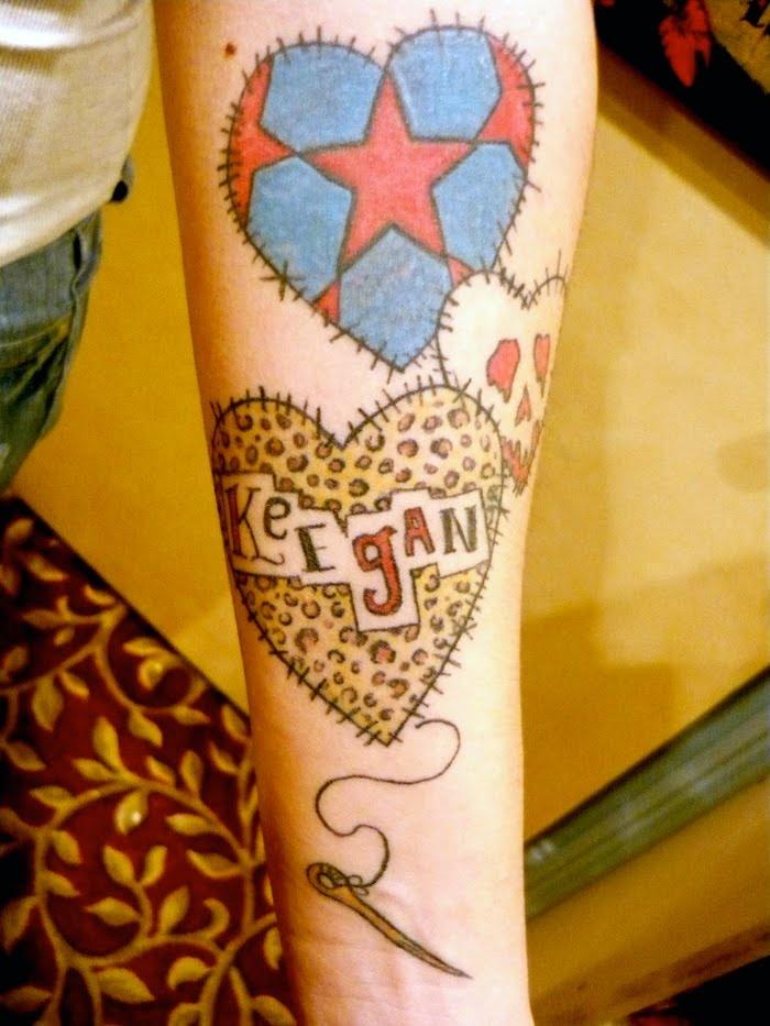 Will Koffman Tattoo: Patchwork Hearts | tattoo????? | Pinterest ... : temporary quilt tattoos - Adamdwight.com