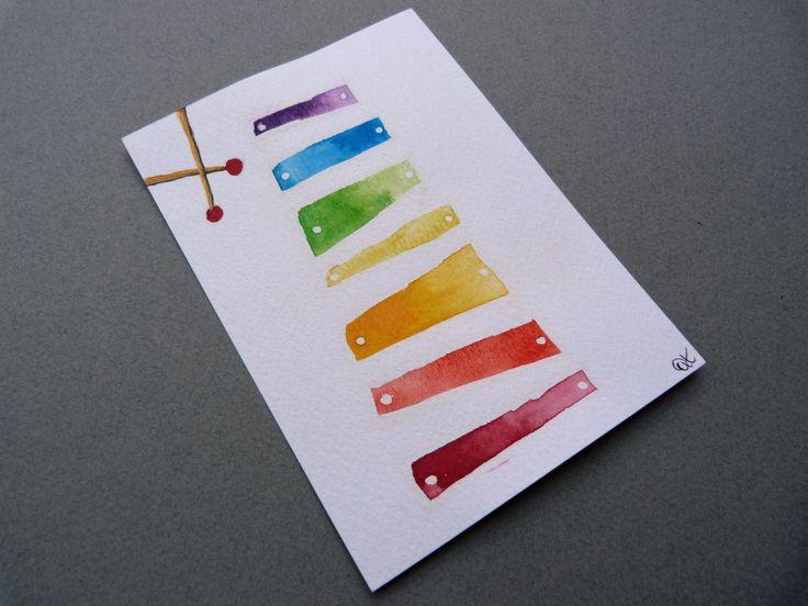 """Aquarelle """" X comme Xylophone """" - format carte postale"""