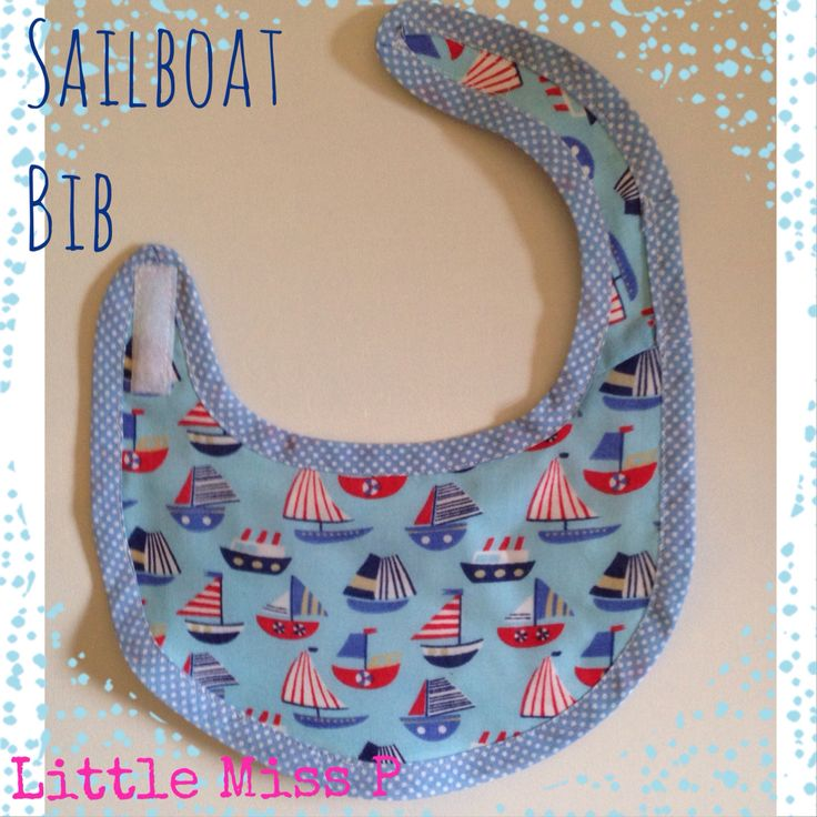 Handmade Sailboat baby bib, from littlemissp.co.uk