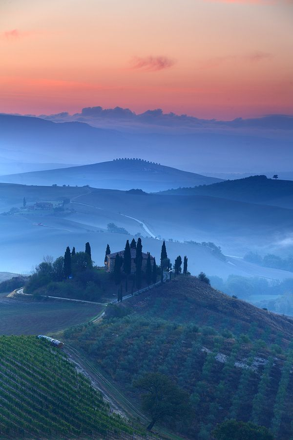 Val D'Orcia Dawn,The Val d'Orcia, or Valdorcia, is a region of Tuscany, central Italy, which extends from the hills south of Siena to Monte Amiata.
