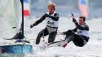 Ben Rhodes and Steve Morrison of Great Britain compete in the men's 49er sailing