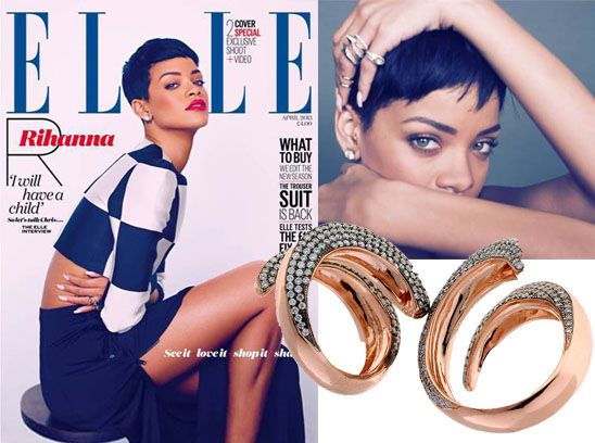 Rhianna wears Selim Mouzannar for Annoushka on the cover of UK Elle April 2013. #jewlerytrends