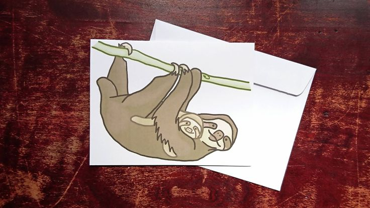 Unique hand drawn greeting card with a parent sloth lovingly holding its baby. Great for Mothers Day, Fathers Day & birthdays! White envelope included. The artwork on the card was drawn by me using Photoshop.  Professionally printed onto a greeting card with a matte finish. Blank inside. Dimensions: 5.4 inch x 4.2 inch (13.7 cm x 10.6 cm)  *Also available as a bulk option. Any 5 cards listed in my shop for $14.00 CAD.*  *Last image shows other cards for sale in my shop - available through...