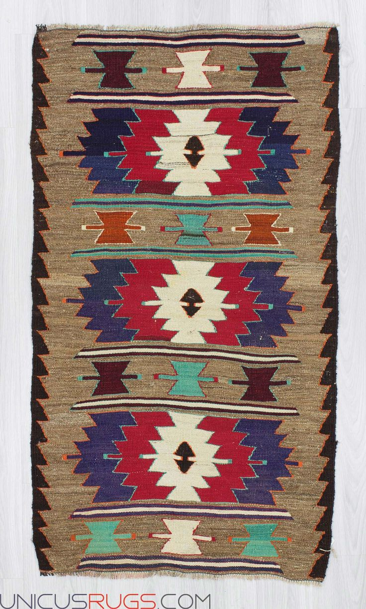 "Vintage handwoven kilim rug from Adana region of Turkey. In very good condition. Approximately 35-45 years old. Width: 2' 8"" - Length: 4' 9""  Colorful Kilims"