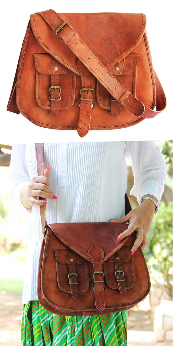 14 Inches Rugged- Chic Distressed Leather Women Sling Bag. Its trendy, beautiful & spacious too. Carry it anytime anywhere.