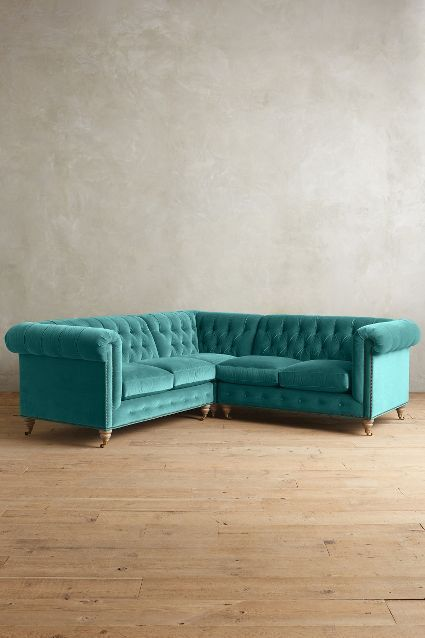 Velvet Lyre Chesterfield Sectional, Wilcox - anthropologie.com