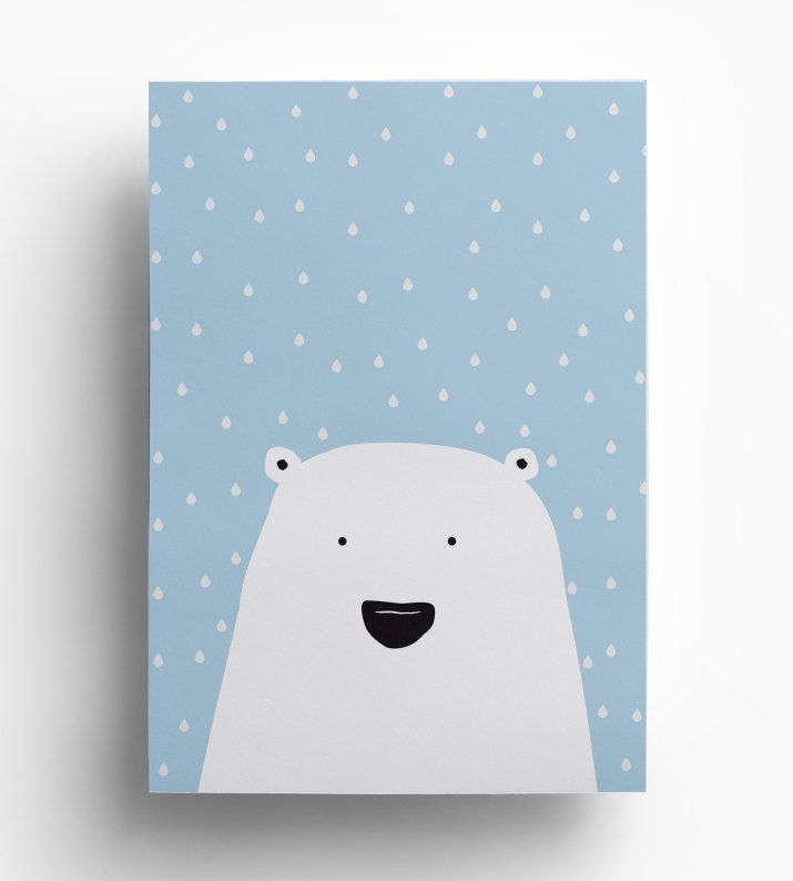 Polar Bear Print - Cute Nursery Art - Scandinavian Art - Childrens Art - Minimalistic Animal Print - Instant Download by SkandiPrint on Etsy