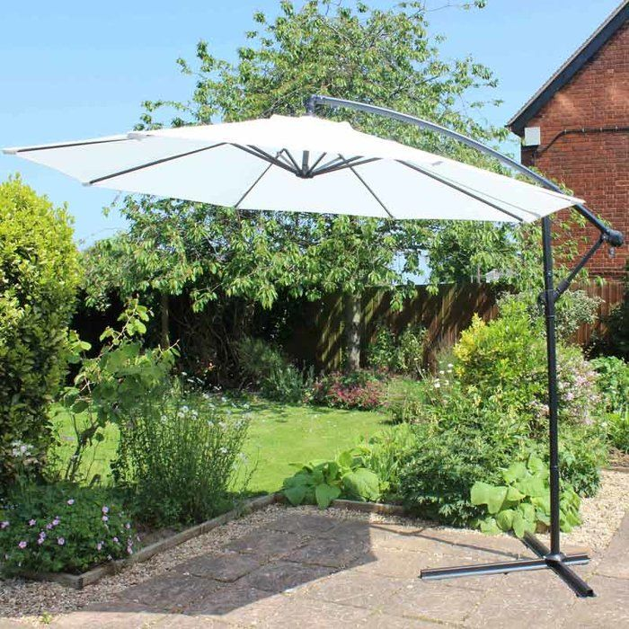 A contemporary elegant cantilever parasol umbrella. With the overhanging style, it maximises entertaining space in your garden or patio. The cross base is pre-drilled for securing to hard base, or could be weighed down with paving slabs.
