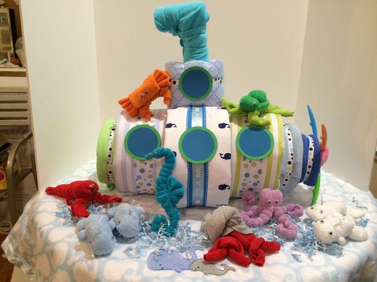 Diaper Submarine with washcloth sea animals. http://phoenix888designs.wix.com/home