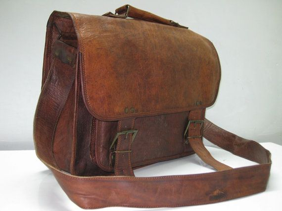 Handmade Leather Bag Messenger Shoulder Laptop Briefcase 63