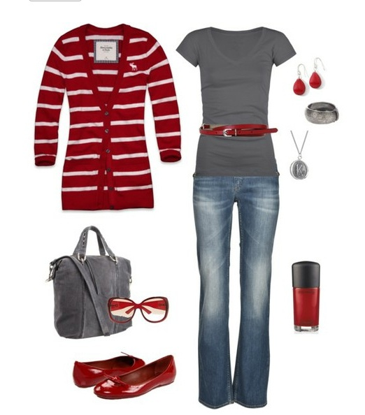 love this color palette.: Sweater, Fashion, Style, Dream Closet, Cardigan, Outfit, Red Grey, Fall Winter