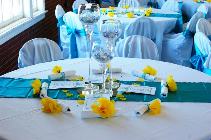 Turquoise And Yellow Wedding Ideas: Turquoise And Yellow Table Setting